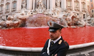 The blood-red Trevi fountain.