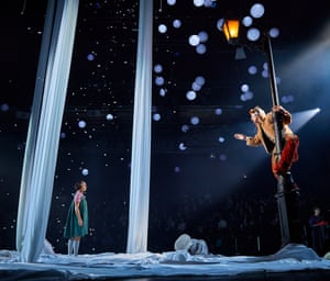Cora Kirk as Lucy and Peter Caulfield as Mr Tumnus  in The Lion, the Witch and the Wardrobe at West Yorkshire Playhouse