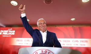 António Costa reacts after preliminary election results in Lisbon.