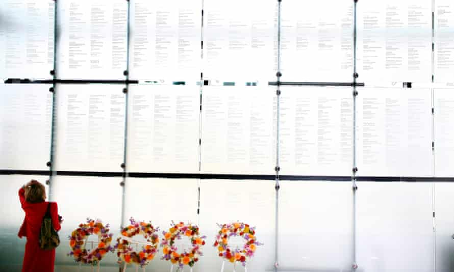 A wall engraved with the names of journalists who died covering the news, at the Newseum in Washington DC.