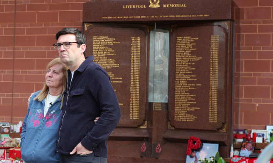 Hillsborough campaigner, Margaret Aspinall and Andy Burnham, the mayor of Greater Manchester