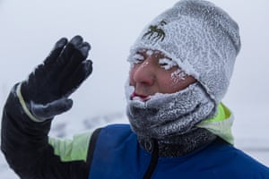 A man's eyelashes ice over after a jog in Pobedy Square