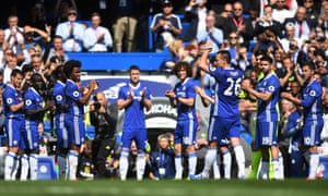 Chelsea players form a guard of honour as John Terry leaves the Stamford Bridge pitch for the final time on Sunday.