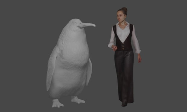 An illustration shows the approximate height of a giant penguin next to a woman.