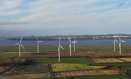 Frodsham wind farm, Helsby Hill. UK government's plan for a 'green industrial revolution' has received criticism for weak regulations and investment in roads.