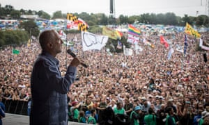 Jeremy Corbyn addresses the crowd at Glastonbury Festival.