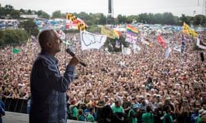 Jeremy Corbyn addresses the crowd at Glastonbury Festival.