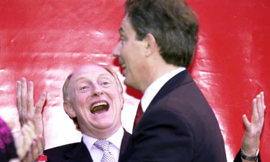 Neil Kinnock greets Tony Blair after Labour's landslide victory in 2001.