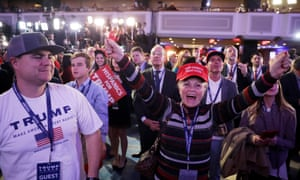Supporters of Republican presidential nominee Donald Trump cheer during the election night event in New York City.