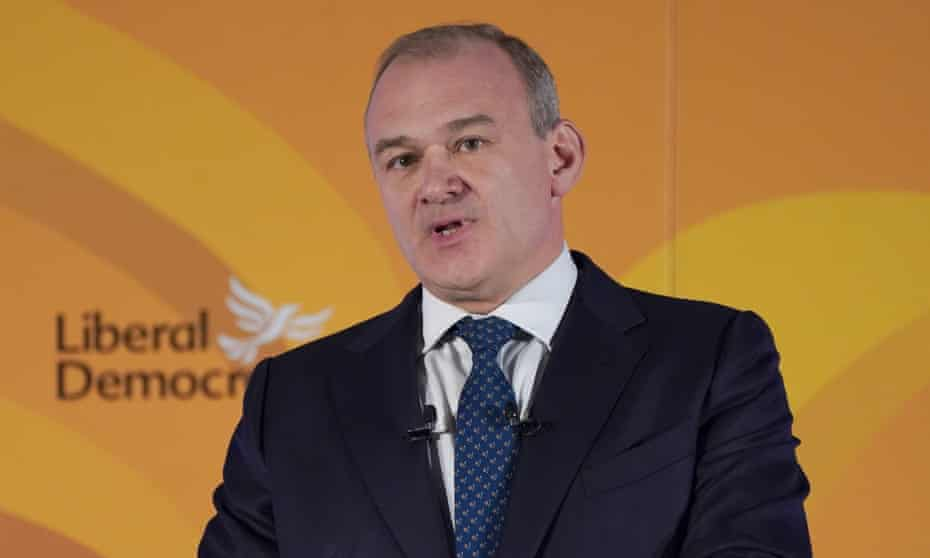 Ed Davey delivers his speech at the Liberal Democrat conference in Canary Wharf, east London