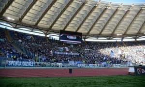 Lazio fans occupy the Curva Nord