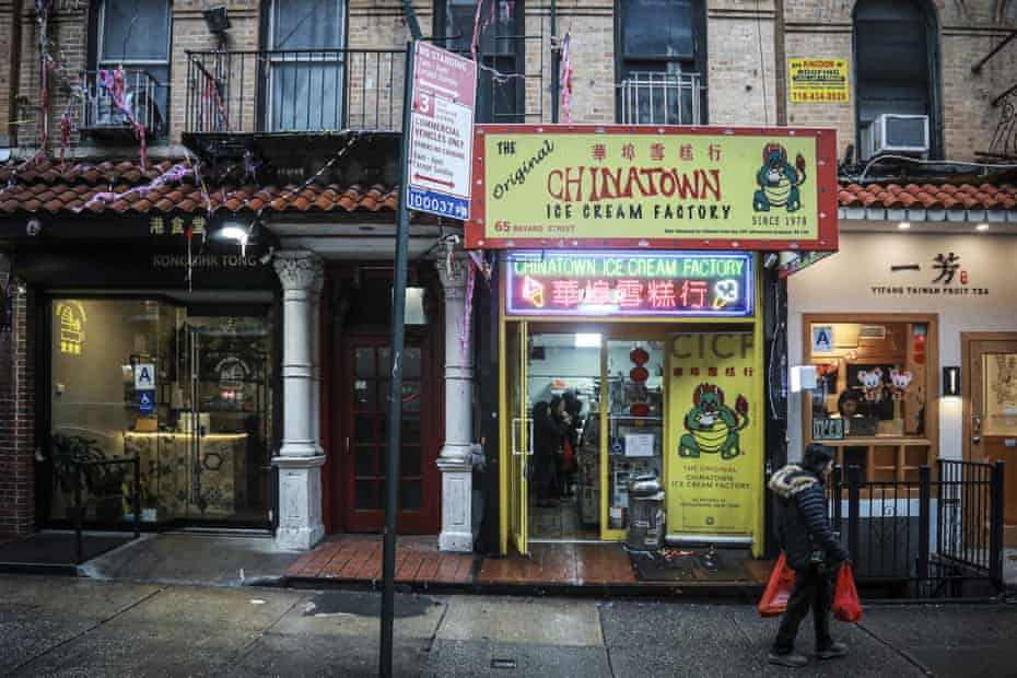 A woman walks in Chinatown on 13 February.
