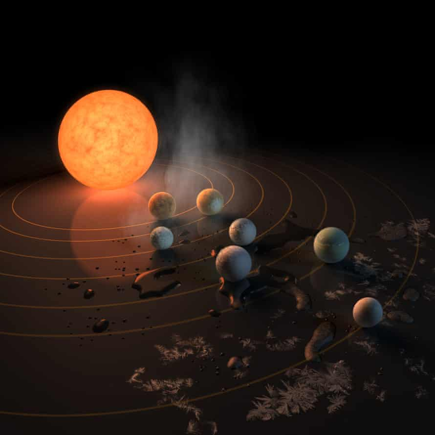 Artist's impression of the of Trappist-1 and its planets. The potential for water is represented by the frost, water pools, and steam surrounding them.