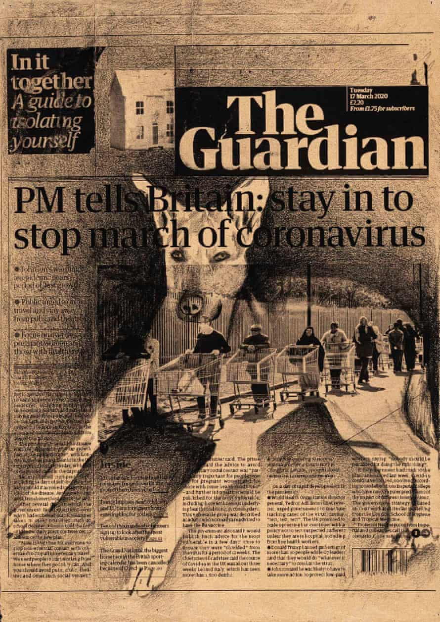 "March 17th, The Guardian, UK,"" from Front Pages March 15-April 25, 2020."