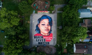 A Breonna Taylor mural on two basketball courts in Annapolis, Maryland.