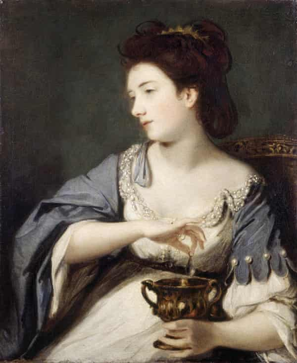 Kitty Fisher as Cleopatra Dissolving the Pearl, 1759, H76.2 x W63.5 cm by Joshua Reynolds (1723-92).