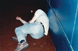 A sleeping punter at Shock Around the Clock, 1989