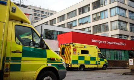 Ambulances outside the A&E department of Guy's and St Thomas' hospital in London