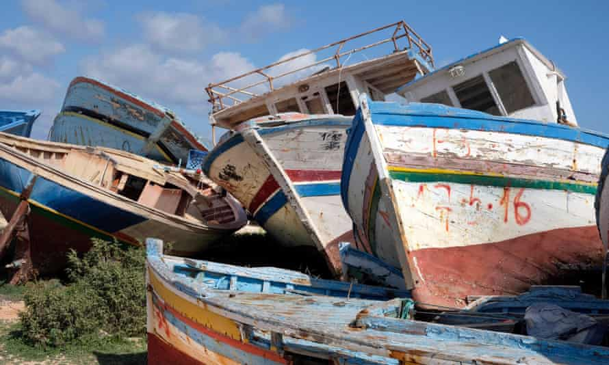 The abandoned remains of migrant boats on Lampedusa, Italy (pictured last year).