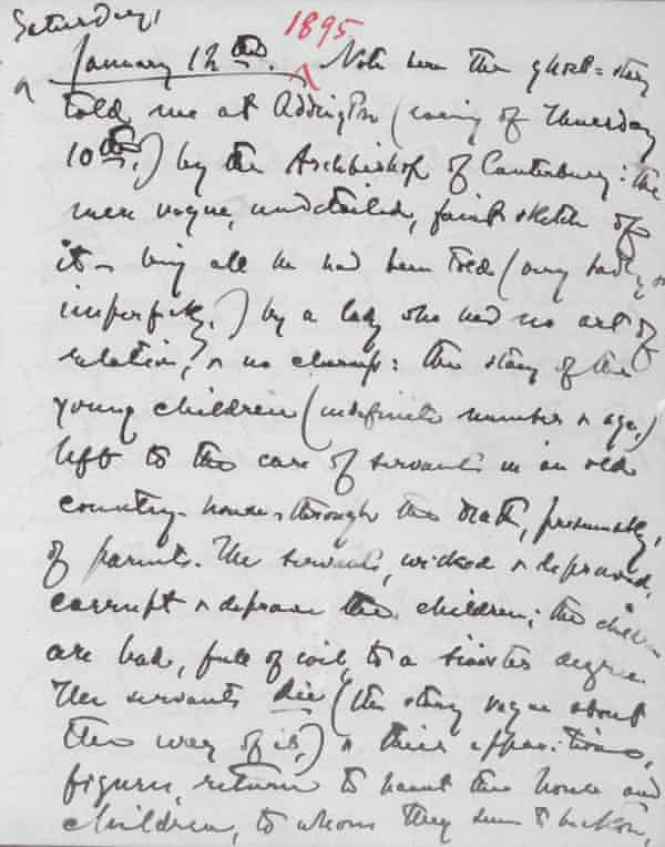 Henry James wrote in his notebook about the evening when the Archbishop of Canterbury told him the anecdote that became The Turn of the Screw.