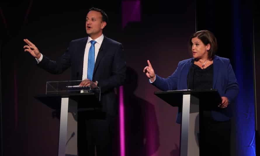 Leo Varadkar and the Sinn Féin leader, Mary Lou McDonald, during a televised leaders' debate