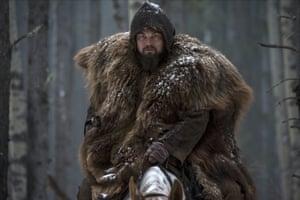 Leonardo DiCaprio as the 19th-century fur trapper and frontiersman Hugh Glass, in The Revenant