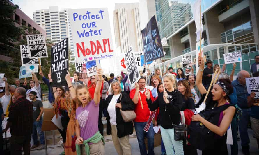 Protesters chant during a rally on 13 September 2016 in San Diego, California, in support for the protestors at Standing Rock, North Dakota.