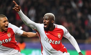 Tiémoué Bakayoko, here celebrating after scoring for Monaco against Manchester City in the Champions League, is in line to join Chelsea.