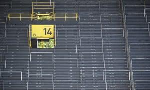 Empty seats are seen inside a stadium amid coronavirus