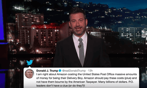 Jimmy Kimmel: 'He says Amazon has been taking advantage of the US postal service after he claimed the post office loses $1.50 for every Amazon delivery which, by all accounts, isn't true.'