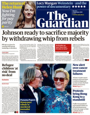 Guardian front page, Monday 2 September 2019