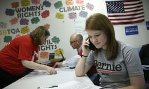 Volunteers participate in a phone banking campaign for Bernie Sanders in Des Moines, Iowa on 1 February 2016. Sanders was the first to use peer-to-peer texting as a major campaign tool.