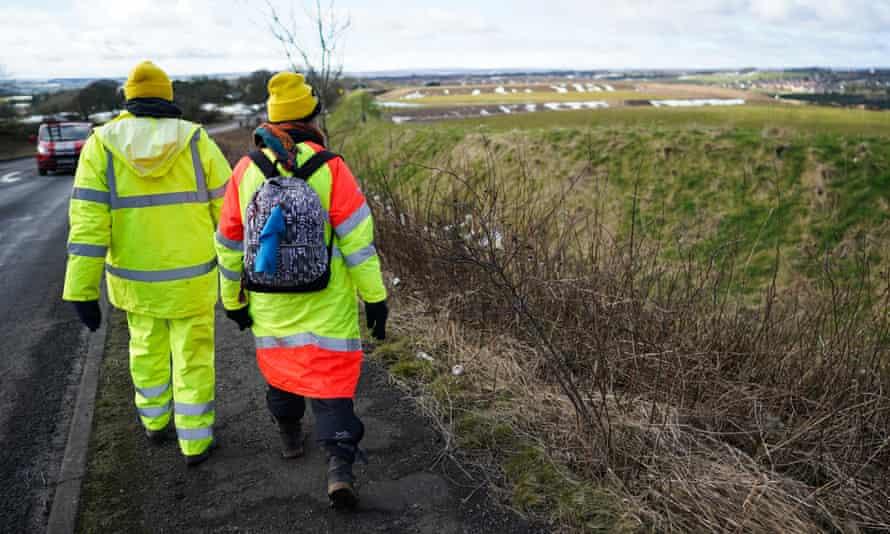 Extinction Rebellion demonstrators near the Bradley open-cast coalmine in February