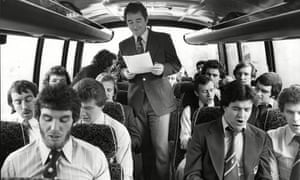 Brian Clough is the centre of attention as Forest record the song 'We've Got the Whole World in our Hands' en route to Birmingham in January 1978.