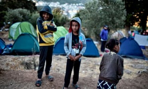 Children in a Greek refugee camp