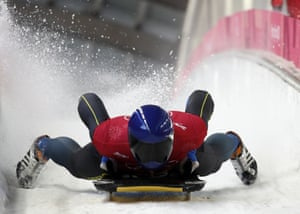 Ukraine's Vladyslav Heraskevych applies the brakes in the finish area during training for the men's skeleton.