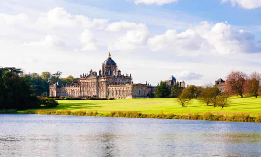 Scenic view of Castle Howard in sunny day, North Yorkshire, UK.