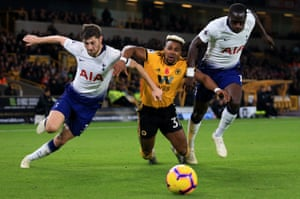 Ben Davies and Moussa Sissoko hold off Adama Traore in Tottenham's 3-2 away win over Wolves. Tottenham have won 24 points from their 11 Premier League games this season, only in 2011-12 (25) have they picked up more at this stage of a single campaign in the competition.