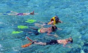Snorkelling over Hardy Reef, Great Barrier Reef, Queensland.