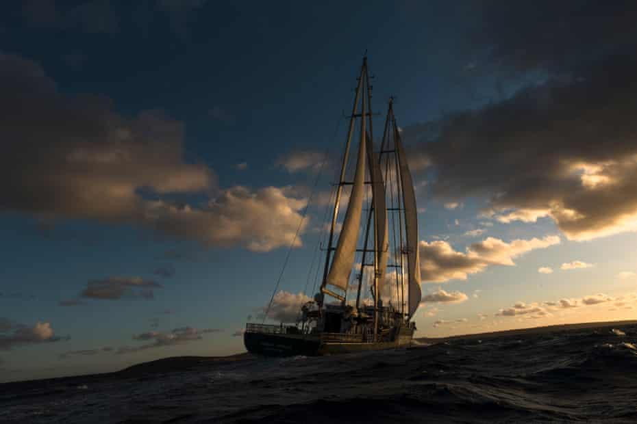 The Rainbow Warrior III as sun sets over the waters of the Great Australian Bight, off the coast of South Australia. The ship is one of the greenest in the world and runs off wind power 75% of the time depending on conditions. At top speed, the ship can travel at 14 knots