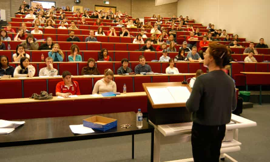 A teacher delivering a lecture in the Law department Aberystwyth university