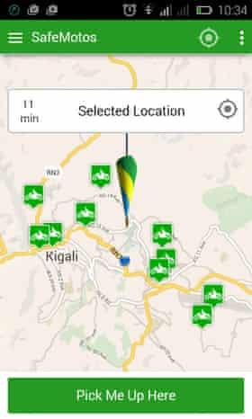 A screengrab of the SafeMotos app