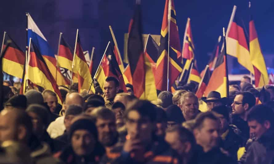 A demonstration initiated by the AfD party against immigration, in Erfurt, Germany.