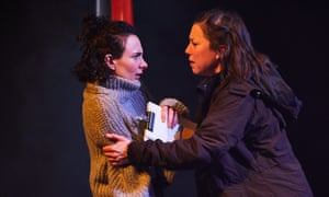 Simona Bitmate (Ophelia) and Tessa Parr (Hamlet) in Hamlet, Leeds Playhouse, Leeds, 1 March to 30 March. Photography by David Lindsay
