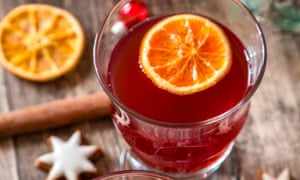 Packing a punch: mulled wine with orange leaves and slices.
