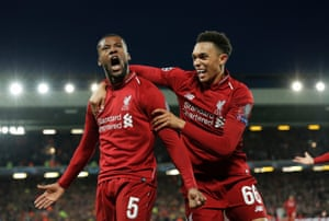 Georginio Wijnaldum celebrates with Trent Alexander-Arnold after scoring Liverpool's third goal against Barcelona during the UEFA Champions League semi-final second leg at Anfield on 7 May.
