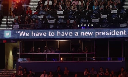 A tweet on display during a Republican convention in 2012.
