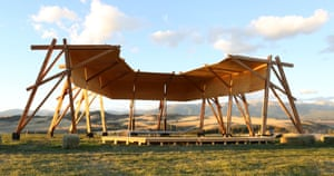 The Tiara venue at Tippet Rise Art Center. The 100-seat Tiara venue has a partial ceiling and no walls, which enables panoramic views of Montana's rolling hills and Beartooth Mountain. Performances here will showcase the centre's collection of pianos, which includes the recently acquired CD-18, the concert piano of Vladimir Horowitz and Eugene Istomin.