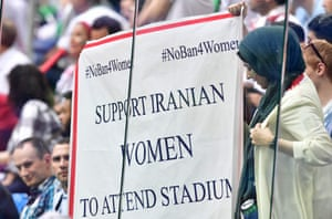 A banner displayed at Iran's game against Morocco during the 2018 World Cup in Russia.
