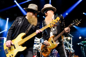 Montreux, Switzerland US bassist and lead vocalist Dusty Hill (L) and US guitarist and lead vocalist Billy Gibbons (R) of the band ZZ Top perform on stage of the Auditorium Stravinski during the 50th Montreux Jazz Festival